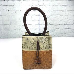 Handbags - Woven & Elephant-Embroidered Thai Hand Bag 🐘